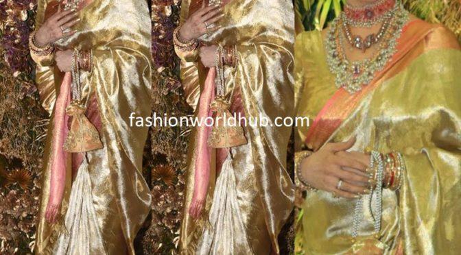 Rekha in a gold Kanjeevaram saree at Armaan Jain's wedding reception