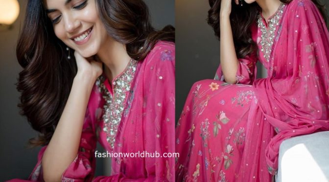 Ritu Varma in a pink floral anarkali for promotions of kannum Kannum Kollaiyadithaal!