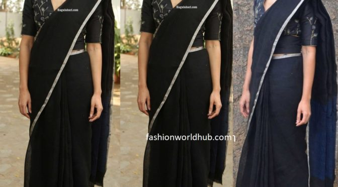 Samantha Akkineni in a black Saree at 'Jaanu' promotions