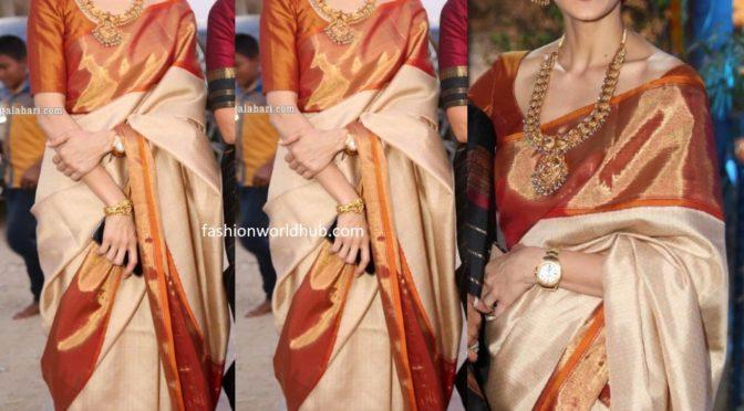 Shilpa Reddy in a traditional saree at Gudi Sambaralu