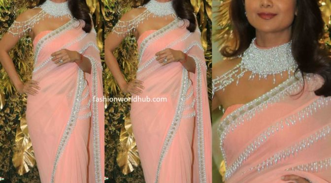 Shilpa Shetty in a pearl work saree at Armaan Jain's wedding reception