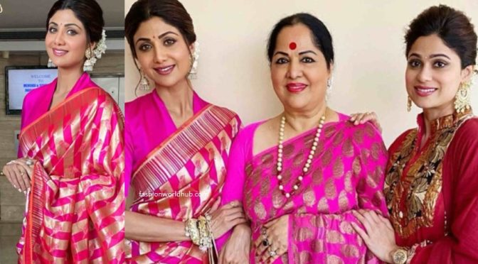 Shilpa Shetty and her mom twinning in pink silk sarees
