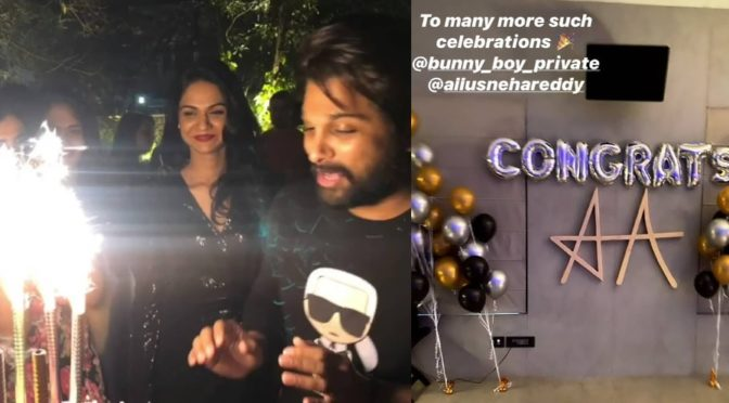Allu arjun and Sneha are twinning in black at Ala Vaikunta puramulo Success party!