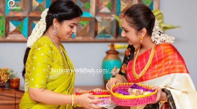 Actress sneha and pritha hari in traditional saree