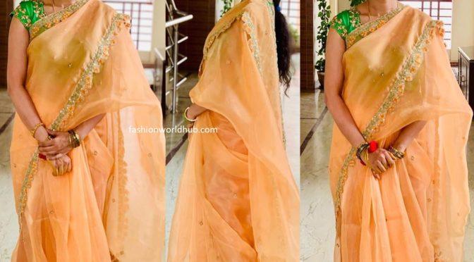 Sravana bharagavi in a peach organza saree!
