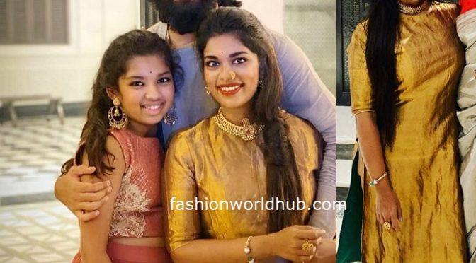 Sreeja Kalyan in a gold kurta!