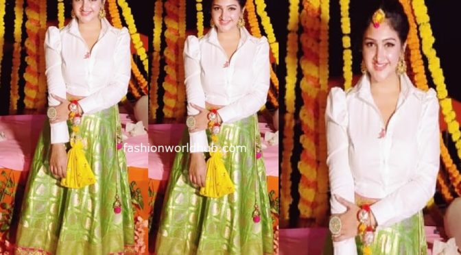 Sridevi vijaykumar in a green long skirt at Mehendi function!