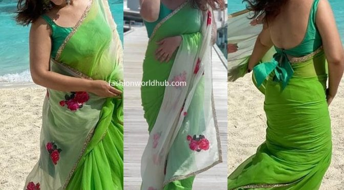 Sridevi vijaykumar in a green saree holidaying in Maldives!