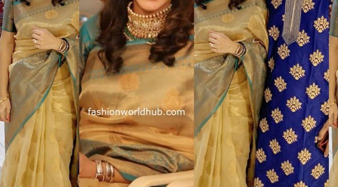 Vandana Srikanth in Gold chanderi silk saree!