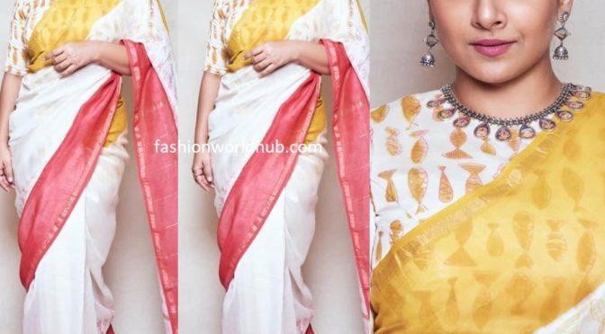 Vidya Balan in a printed Chanderi silk saree!