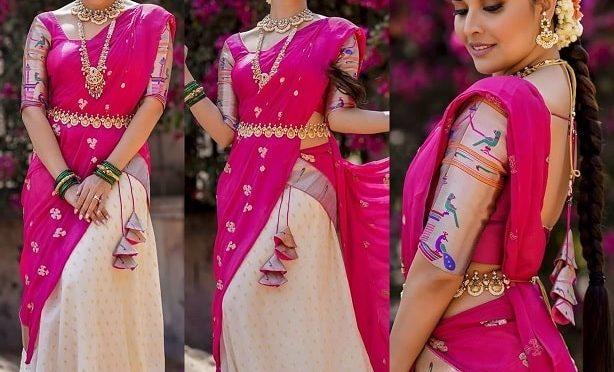 Anasuya in a paithani half saree