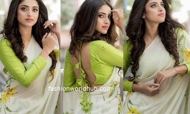 TV Actress Ayesha in a floral print saree!