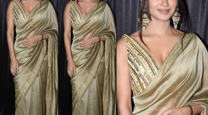 Meera Chopra in a gold saree