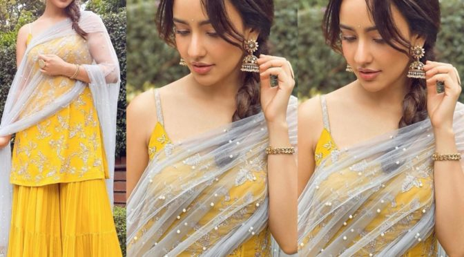 Neha Sharma in a yellow sharara suit