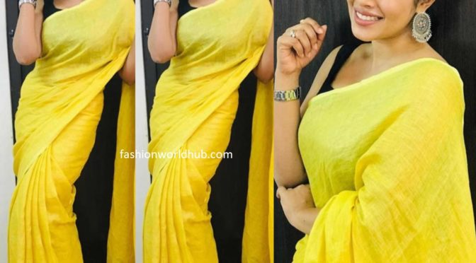 Poorna in a yellow linen saree