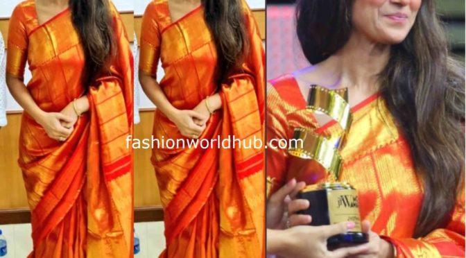 Simran in a kanjeevaram saree at JFW Awards 2020!