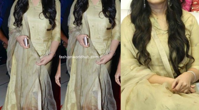 Anushka Shetty in a gold sharara suit