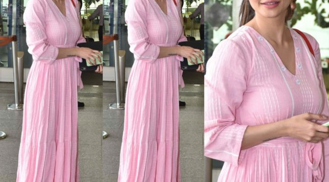 Daisy Shah snapped at Airport in a Pink maxi dress!