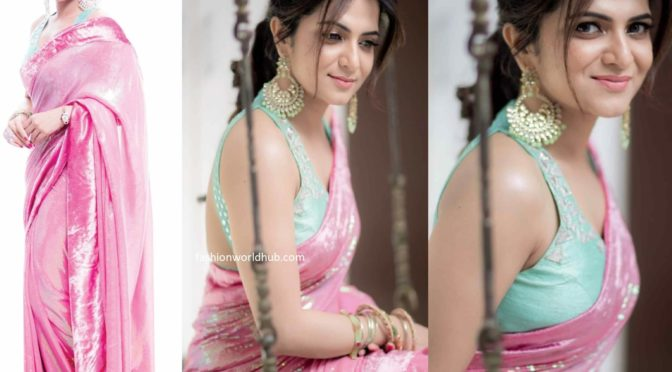 Dhivyadharshini in a pink sequin saree