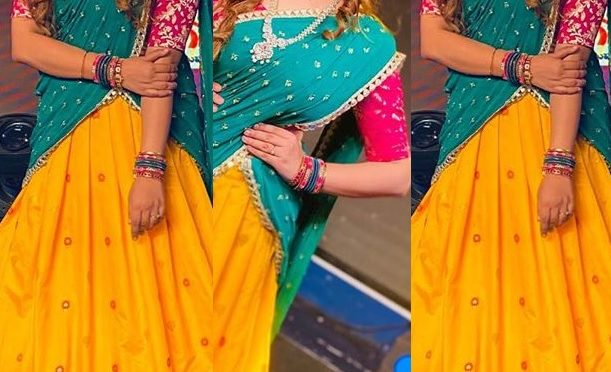Singer geetha madhuri in a traditional half saree