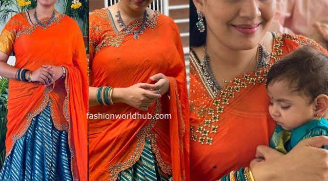Geetha madhuri in a Traditional half saree!