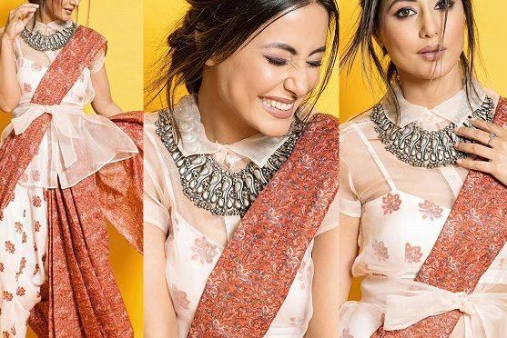 Hina khan in a dhoti saree!