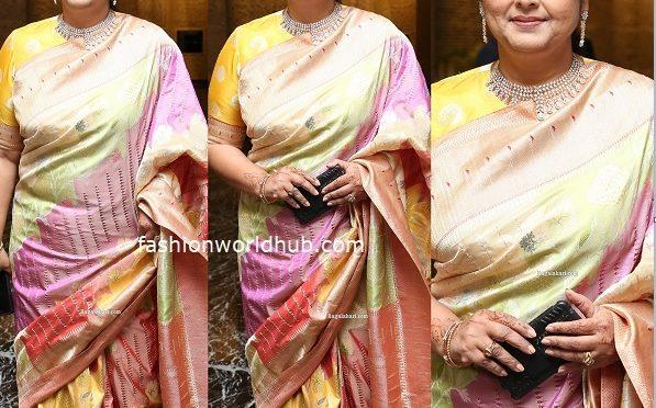 Jayasudha in a Banarasi silk saree at her son's wedding reception