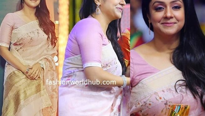 Jyothika in a lilac linen saree at JFW Movie Awards 2020