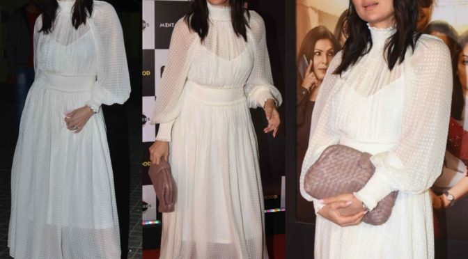 "Kareena Kapoor in a white dress at ""Mentalhood"" movie screening"