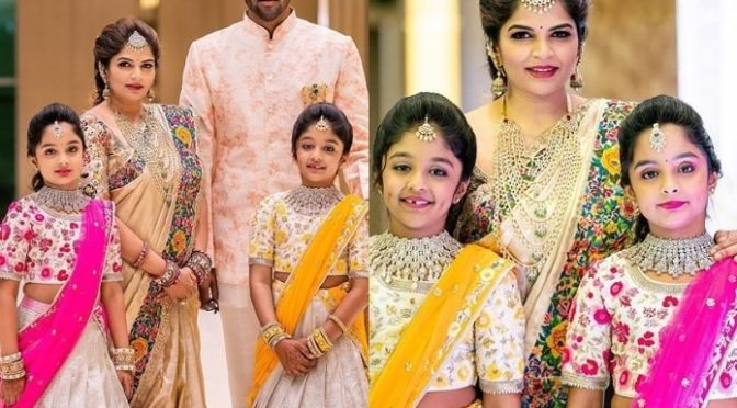 Manchu Vishnu Family in Traditional outfit at Ugadhi Celebrations!