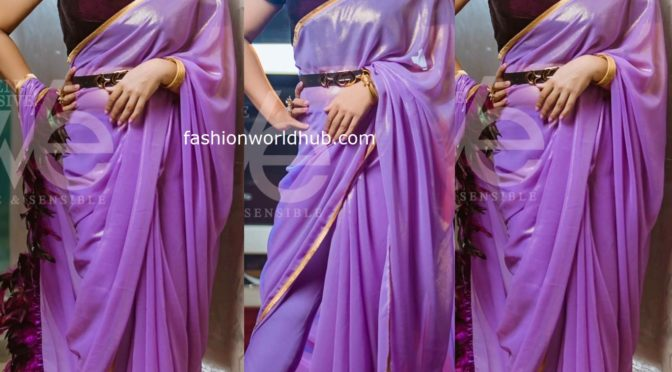 Actress meena in a pant saree by Geetu Couture!
