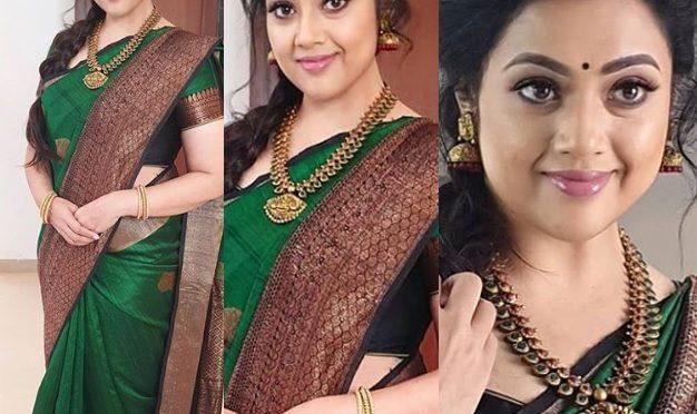 Actress Meena in a green silk saree!
