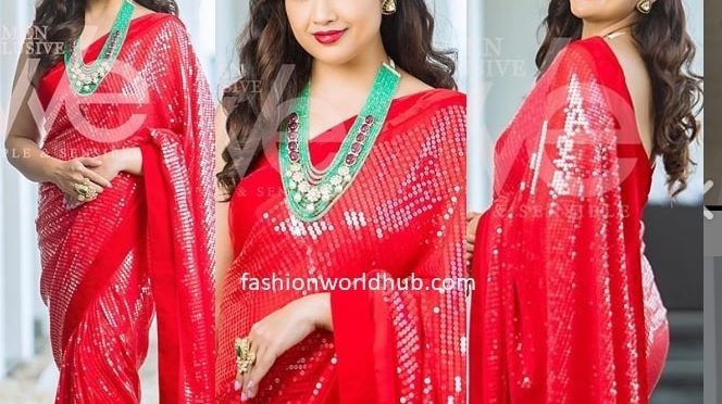 Meena in a Red sequin saree by Geetu couture!