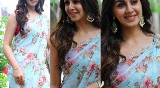 Nikki Galrani in a blue floral saree
