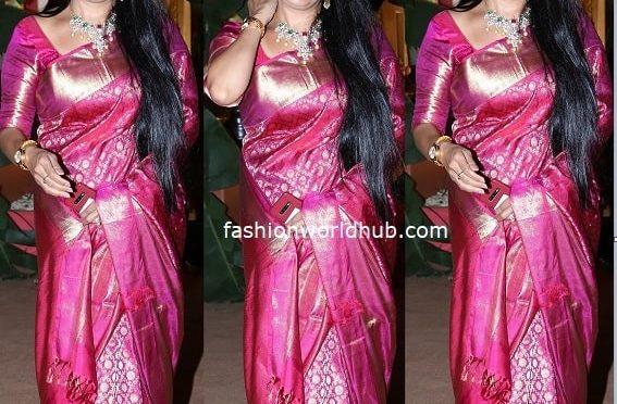 Pragathi in a pink kanjeevaram saree