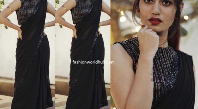Priya Prakash Varrier in a black saree