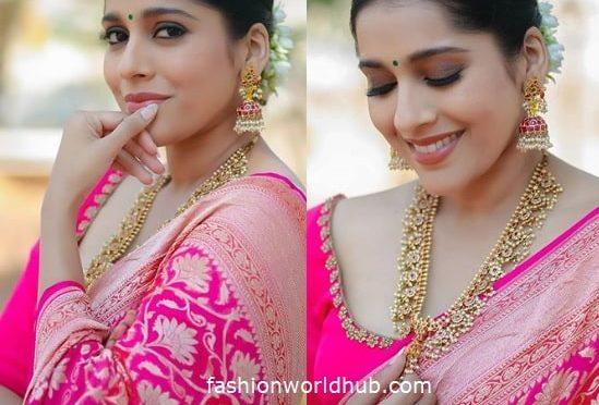 Rashmi Gautam in a Pink Silk saree!