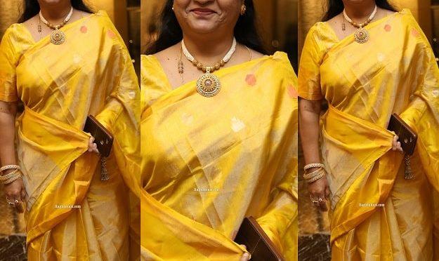 Srilakshmi in a Yellow Silk saree at Jayasudha son's wedding!