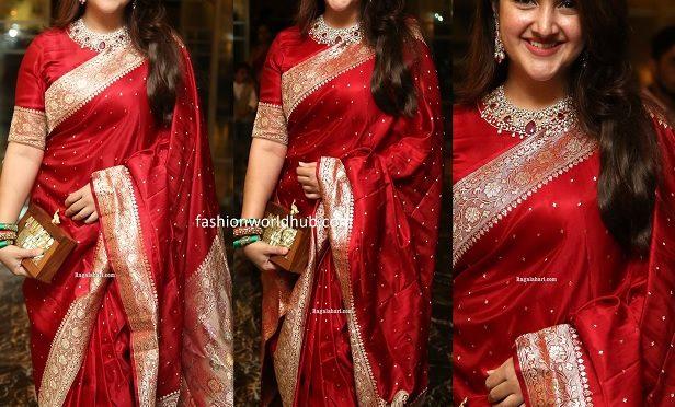 Sridevi vijaykumar in a silk saree at Jayasudha son's wedding reception!