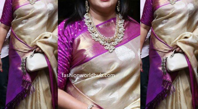 Sumalatha in a gold Kanjeevaram saree at Nihar Kapoor's wedding reception