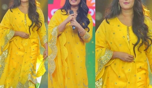 Anushka Shetty in a yellow sharara suit
