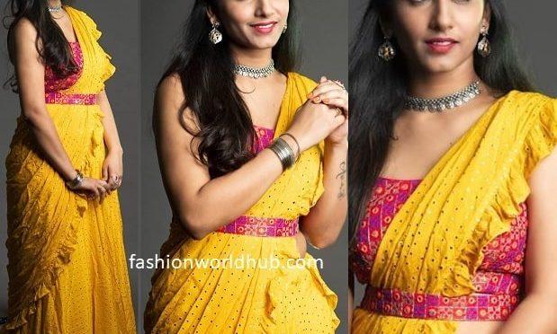 Anchor Vishnupriya in a Yellow Ruffle saree!