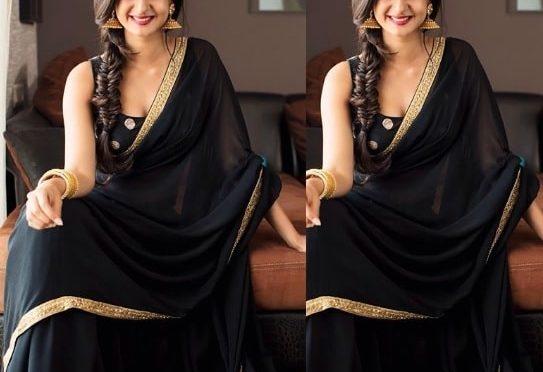 Aishwarya Arjun in a black saree!