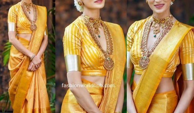 Shilpa Reddy in a Yellow Kanjeevaram saree!