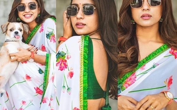 Vithika Sheru in a white floral printed saree