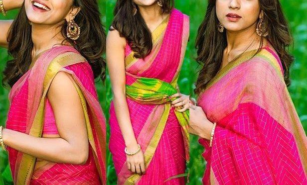 Vithika Sheru in a pink silk saree!
