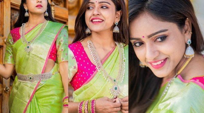 Vithika Sheru in a Green Kanchi pattu saree!