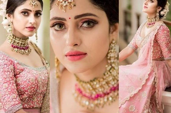 Actress Ayesha in Pink Embroidery work lehenga!