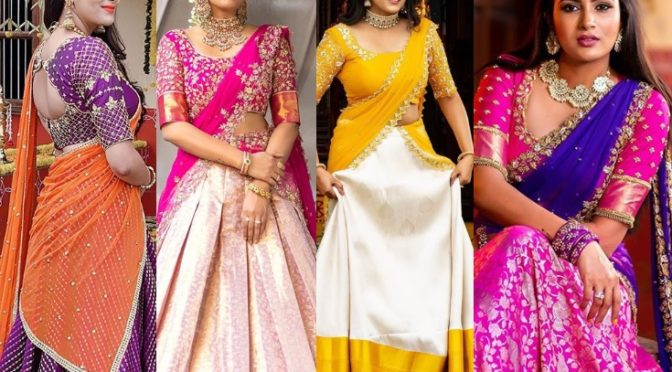 Himaja in Traditional half saree looks!