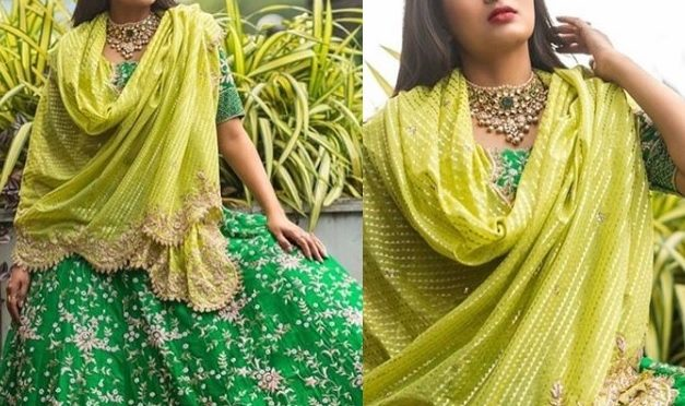 Himaja in a Traditional half saree by Mugdha Art Studio!
